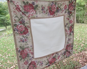 """Small Square Vintage Tablecloth - Synthetic Blend Floral Table Cover - Beige Lavender Sage Rose - 34"""" Square"""