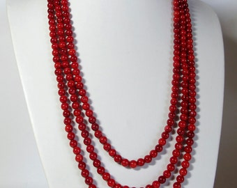 Red coral necklace. Extra long necklace. Multi strand. Gift for her