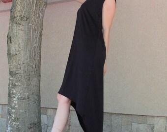 Black Long Dress/Mod ALENA/Extravagant Tunic Dress/Asymmetric Black Top / Loose Tunic/Gentle Casual Dress/Fallen Sleeve Long Top/Black Dress