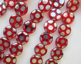 Czech Ruby Silver Polka Dot Disk Beads