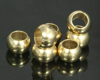 100 pcs raw brass sphere 9 x 6 mm (hole 5.4 mm) industrial brass charms,pendant,findings spacer bead bab5.4 1459