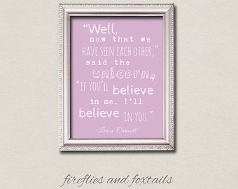 Unicorn Alice in Wonderland Lewis Carroll Typography Quote