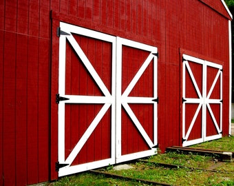 Rustic Decor Red Photography Barn Doors Photo 5x7 Signed Print  Wall Art