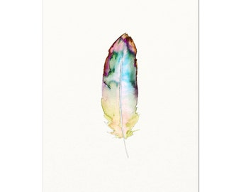 Colorful Watercolor Feather Art. Blue Watercolor Feather Painting. Modern Boho Feather Artwork. Gallery Wall Nature Prints. Feather Painting