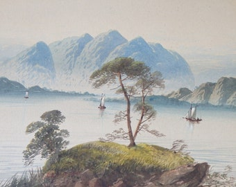 """Watercolor Painting Antique Listed Artist Edwin Earp 21 3/8"""" x 9 5/8"""" Unframed Art Mountains Lake Sailboat Blue Green Gallery Wall Decor"""