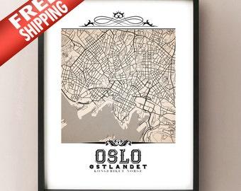 Oslo Vintage Style Sepia Map Art Print - Oslo, Norway City Map Decor