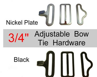 Sale - 100 Sets - Adjustable BOW TIE Metal Hardware Set - 3/4 inch - Raised Center Bar