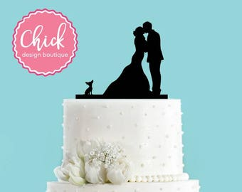 Couple Kissing with Chihuahua Dog Acrylic Wedding Cake Topper