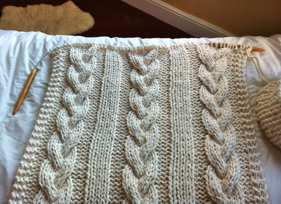 Giant Circular Knitting Needles Uk : Pattern for giant cable knit blanket or throw