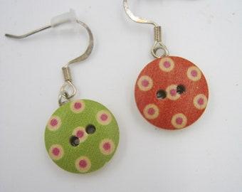 Wooden Polka Dot Drop Earrings