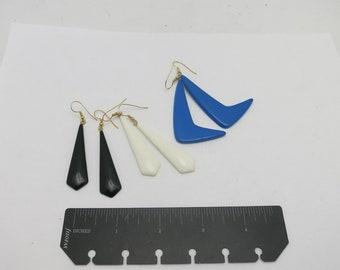 Eighties Earrings New Wave NOS Trio black white blue