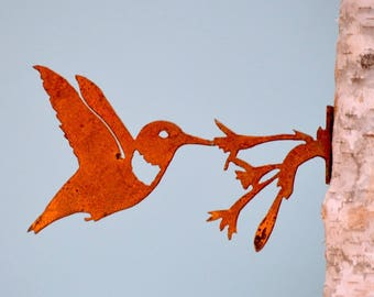 Hummingbird with Flower | Wild Bird Art | Hummingbird Art | Metal Garden Art | Bird Lovers Gift | Gardener Gift | Bird Gift for Men | B742