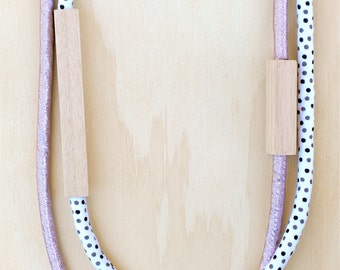 2 piece - Wood & Fabric Necklace - Metallic Pink and Black and White Dots