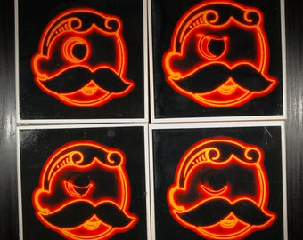 Mr. Boh (Natty Boh) Iconic Neon Sign - Baltimore - Photo Coasters SET OF 4 - Full Eyes to Full Wink