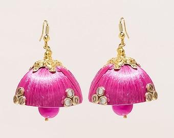 Beautiful Pink Thread Indian Jhumki Earrings    Wear Any Where    Light Weight
