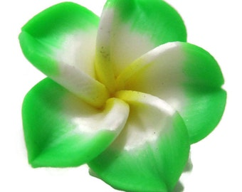 21mm Green Polymer Clay Plumeria Flower Beads set of 4 ( PO6)