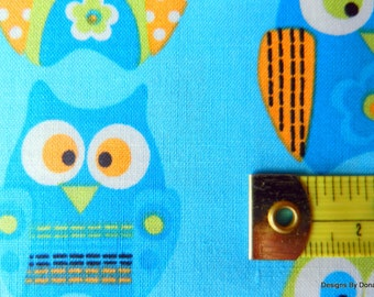 "Clearance SALE, One Fat Quarter Cut Quilt Fabric, ""Stacked Owls"" on Turquoise from Springs Creative, Sewing-Quilting-Craft Supplies"