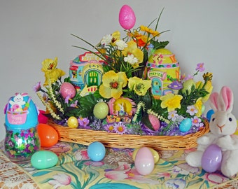 Easter Centerpiece Table Decoration, Easter Basket, Spring Diorama, Egg Town Easter, Ready to Ship!