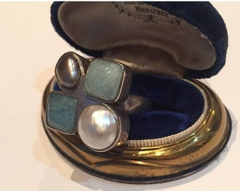 Silver Ring, Vintage silver Ring, Artisan Pearl and Agate ring, Vintage Jewellery
