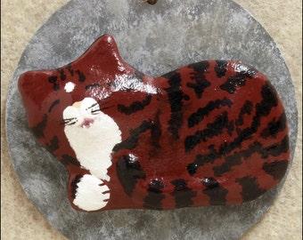 Red Tabby Cat Magnet, Kittenloaf, OOAK, Plaster