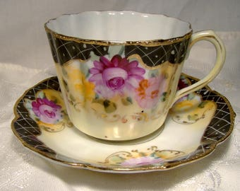 Royal Nippon Hand Painted Roses and Black Lattice Cup and Saucer 1880 1890