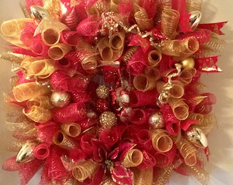 Red and Gold Christmas Deco Mesh Wreath