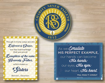LDS Relief Society Bulletin Board Pack, Charity Never Faileth Emblem, Quote Designs, Uchtdorf, Bonnie Oscarson, Gold and Blue, Church