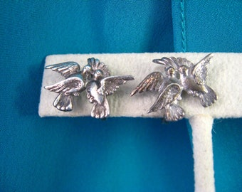 Vintage Doves Bird Sterling Silver Screw Back Earrings Wedding Collectible Doves Signed Adorna