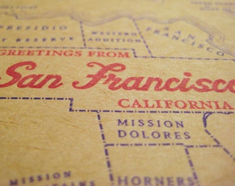 Greetings from San Francisco - Letterpress Greeting Card - SF - The Castro - Haight Ashbury - Noe Valley - Twin Peaks -  The Mission - Cali