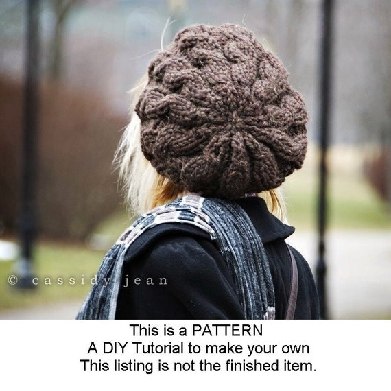 Instant Download Knitting Pattern Cable Beret Pattern Knit