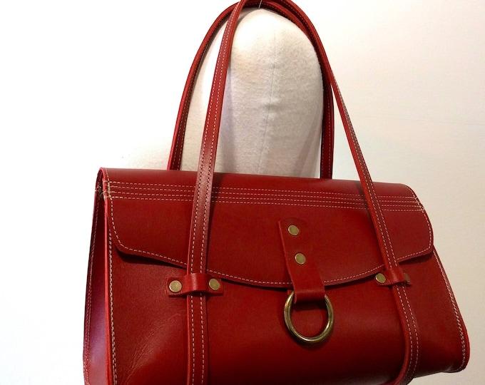 GABRIELLE  red leather handbag