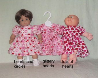 15 inch Doll Dress fits the American Girl Bitty Baby and Cabbage Patch Kids Dolls Valentine Hearts