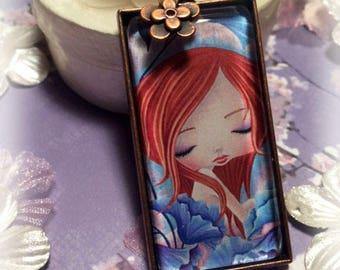 Girls Jewelry, Pendant Necklace, Blue Poppies, Gift for Girls, Whimsical, Flowers, Art Pendant, Wearable Art, Red Head, Antique Copper