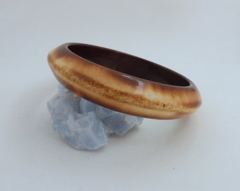 Vintage 1970's Rounded Faux Wood Bangle