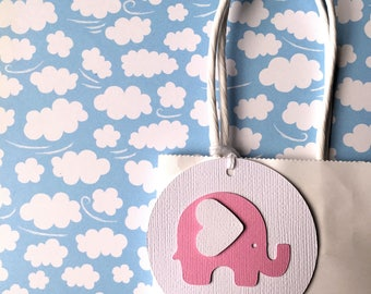 Baby Elephant gift tags. Pink & White. First Birthday party favors, baby shower, new baby gifts. Pastel Pink, bright pink elephant.