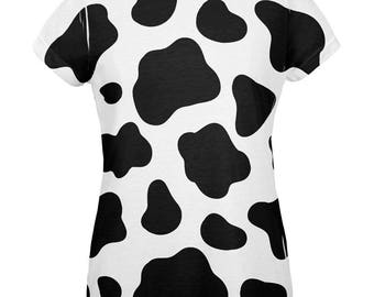 Halloween Cow Pattern Costume All Over Womens T Shirt