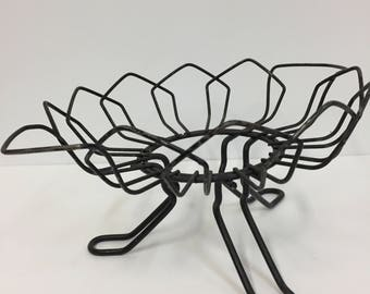 Vintage Wire Basket/ Vintage Black Wireware/ Vintage Decor/ Vintage Wire Serving/Vintage Wire Serving Stand