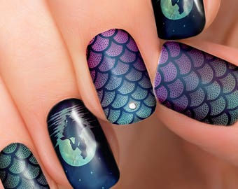 Ariel Mermaid Moon Disney nail transfers - illustrated nail art decals - little mermaid, Princess, Ariel - Disney nail stickers Wraps