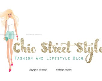 Chic Street Style Character Illustrated Premade Logo design- Fashion and Lifestyle Blog- Fashion BLOGGER