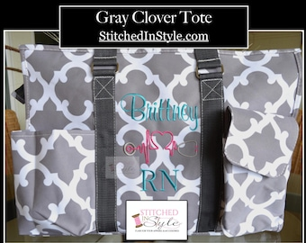 Gray Clover Personalized Organizing Utility Work Tote Everyday Bag Custom Monograms Available
