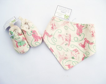 SALE XS Love Dogs in Pink / Soft Sole Shoes and Bandana Bib / Baby Gift Ready to Ship