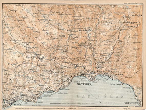1895 Vevey Montreux Area Switzerland Antique Map