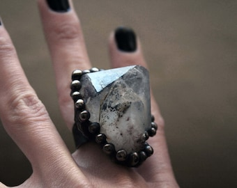 Massive Colorado Specularite Hematite Terminated Quartz Crystal Cluster Ring // Hematite Quartz Matrix Crystal Point Statement Ring