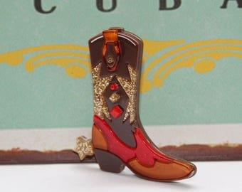 Brooch, boots, Vintagebrosche, hippie style, accessories, cowboy boots, Western boot,