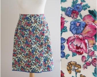 Vintage apron floral / Corduroy apron patterned / Floral corduroy apron with pocket / Floral apron / Half apron / Gift for baker or cook