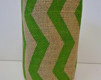 Green Chevron Burlap, 10 Yard Roll