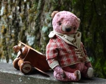 HOLIDAY SALE. Raspberry Red Artist Plush Teddy Bear. Teddy bear collectible handmade OOAK. Plush vintage style bear stuffed animals