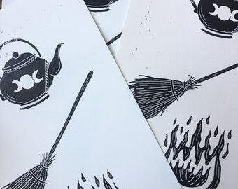 Teapot, Broom, Fire hand printed linocut