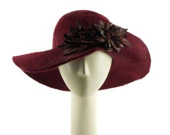 Mother of the Bride Hat, Burgundy Hat, Wide Brim Hat for Women, Wedding Hat, Red Hat, Occasion Hat, Dress Hat, Womens Hat, Ladies Hat