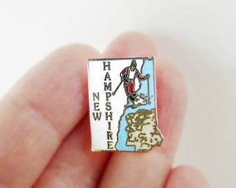 New Hampshire Pin, New Hampshire State, NH Jewelry, NH Pin, Cloisonne Jewelry Brooch, United States, State Pin, Ski New Hampshire, MAFCO